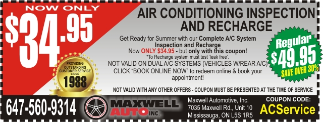 Money Saving Auto Service Coupon - Get A/C Inspection and Recharge ONLY $34.95